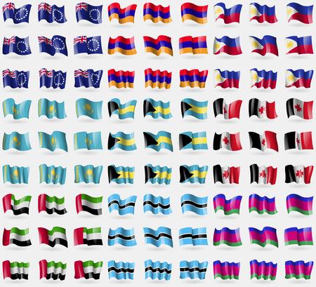kuban: Cook islands, Armenia, Philippines, Kazakhstan, Bahamas, Udmurtia, United Arab Emirates, Botswana, Kuban Republic. Big set of 81 flags.  illustration Stock Photo