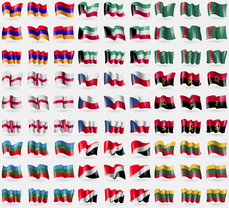 principality: Armenia, Kuwait, Turkmenistan, England, Czech Republic, Ancgola, Karachay Cherkessia, Sealand Principality, Lithuania. Big set of 81 flags.  illustration