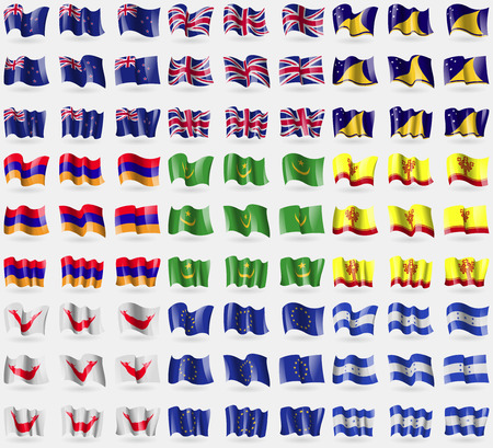 new zeland: New Zeland, United Kindom, Tokelau, Armenia, Mauritania, Chuvashia, Easter Rapa Nui, European Union, Honduras. Big set of 81 flags.  illustration