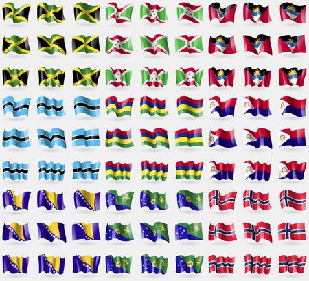 saint martin: Jamaica, Burundi, Antigua and Barbuda, Botswana, Mauritius, Saint Martin, Bosnia and Herzegovina, Christmas Island, Norway. Big set of 81 flags.  illustration