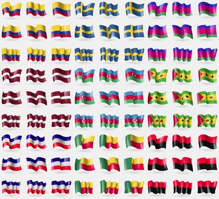 principe: Colombia, Suecia, Rep�blica de Kuban, Letonia, Azerbaiy�n, Santo Tom� y Pr�ncipe, Los Altos, Benin, UPA. Gran conjunto de 81 banderas. ilustraci�n Foto de archivo