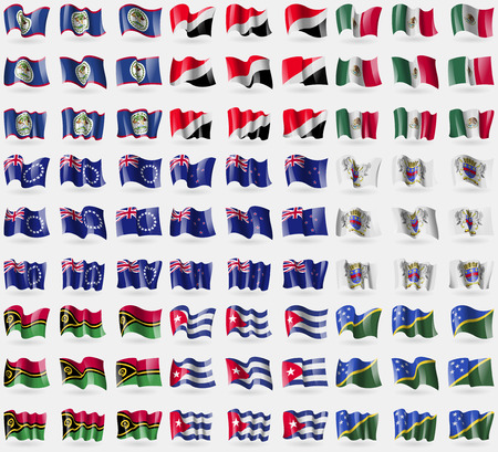 new zeland: Belize, Sealand Principality, Mexico, Cook islands, New Zeland, Saint Barthelemy, Vanuatu, Cuba, Solomon Islands. Big set of 81 flags.  illustration