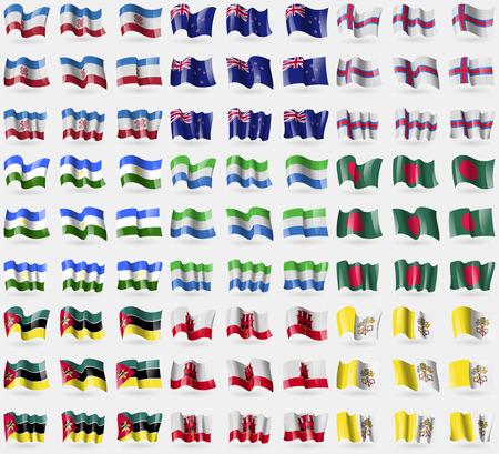 new zeland: Mari El, New Zeland, Faroe Islands, Bashkortostan, Sierra Leone, Bangladesh, Mozambique, Gibraltar, Vatican CityHoly See. Big set of 81 flags.  illustration