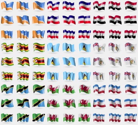 antarctic: Tierra del Fuego Province, Los Altos, Syria, Zimbabwe, Saint Lucia, British Antarctic Territory, Tanzania, Wales, Mari El. Big set of 81 flags.  illustration