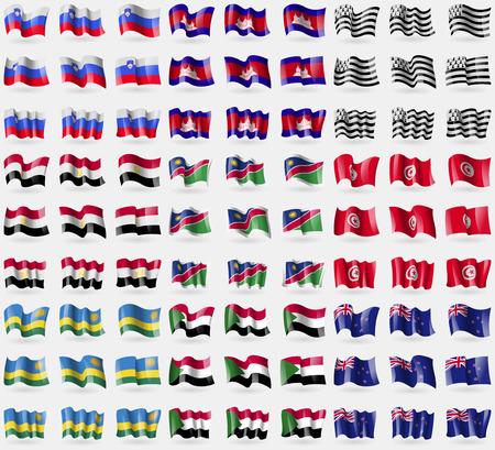 new zeland: Slovenia, Cambodia, Brittany, Egypt, Namibia, Tunisia, Rwanda, Sudan, New Zeland. Big set of 81 flags.  illustration