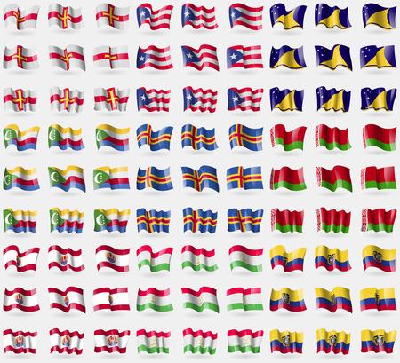tokelau: Guernsey, Puerto Rico, Tokelau, Comoros, Aland, Belarus, French Polynesia, Tajikistan, Ecuador. Big set of 81 flags.  illustration Stock Photo
