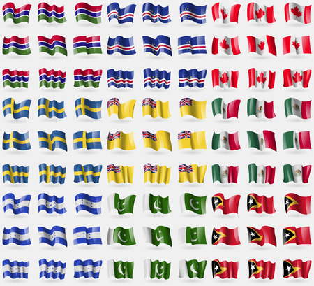 81: Gambia, Cape Verde, Canada, Sweden, Niue, Mexico, Honduras, Pakistan, East Timor. Big set of 81 flags.  illustration