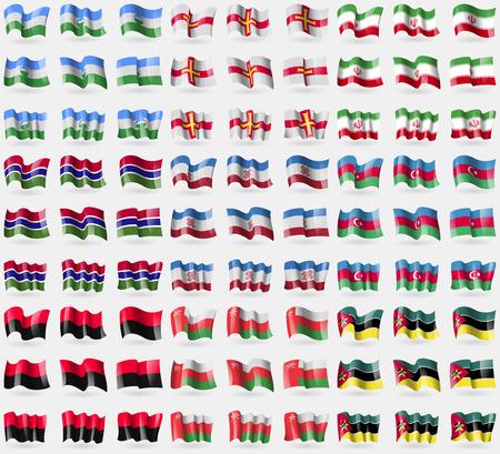 guernsey: KabardinoBalkaria, Guernsey, Iran, Gambia, Mari El, Azerbaijan, UPA, Oman, Mozambique. Big set of 81 flags.  illustration Stock Photo
