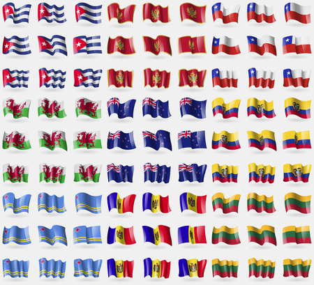 new zeland: Cuba, Montenegro, Chile, Wales, New Zeland, Ecuador, Aruba, Moldova, Lithuania. Big set of 81 flags.  illustration Stock Photo