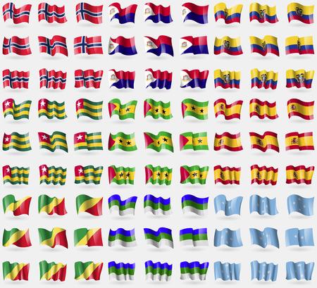saint martin: Norway, Saint Martin, Ecuador, Togo, Sao Tome and Principe, Spain, Congo Republic, Komi, Micronesia. Big set of 81 flags.  illustration Stock Photo