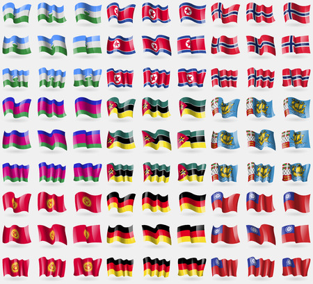 kuban: KabardinoBalkaria, North Korea, Norway, Kuban Republic, Mozambique, Saint Piere and Miquelon, Kyrgyzstan, Germany, MyanmarBurma. Big set of 81 flags.  illustration Stock Photo
