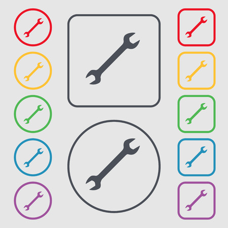 fitter: wrench icon sign. symbol on the Round and square buttons with frame. Vector illustration
