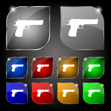 gas mask danger sign: gun icon sign. Set of ten colorful buttons with glare. Vector illustration