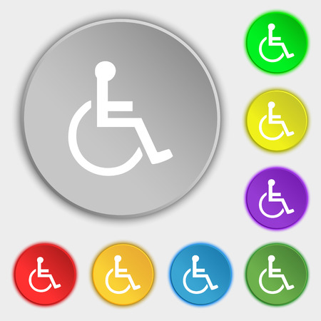 paralyze: disabled icon sign. Symbol on five flat buttons. Vector illustration Illustration