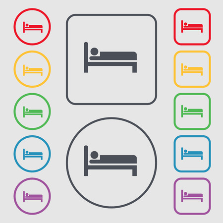 apartment bell: Hotel icon sign. symbol on the Round and square buttons with frame. Vector illustration Illustration