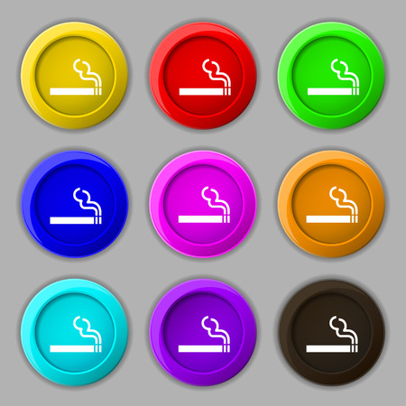 smoldering cigarette: cigarette smoke icon sign. symbol on nine round colourful buttons. Vector illustration