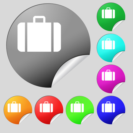 clip art feet: suitcase icon sign. Set of eight multi colored round buttons, stickers. Vector illustration