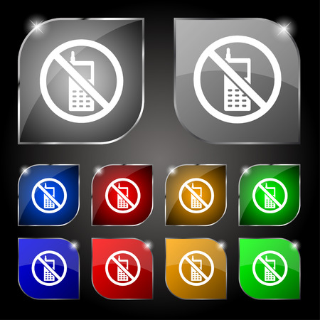 prohibited: mobile phone is prohibited icon sign. Set of ten colorful buttons with glare. Vector illustration Illustration