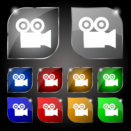 journalistic: video camera icon sign. Set of ten colorful buttons with glare. Vector illustration