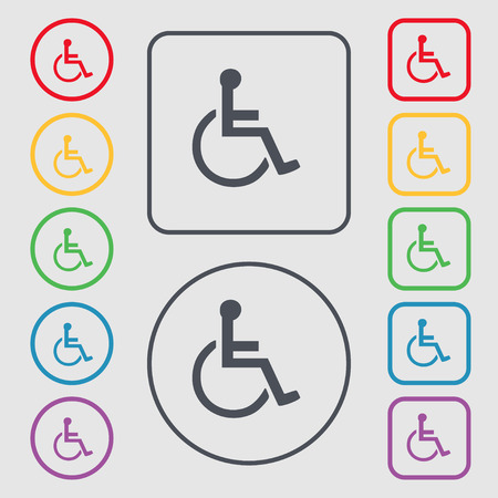 blind dog: disabled icon sign. symbol on the Round and square buttons with frame. Vector illustration