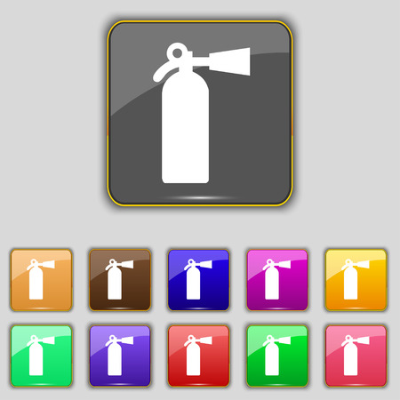 escaping: extinguisher icon sign. Set with eleven colored buttons for your site. Vector illustration