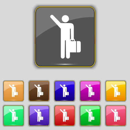 tourist icon: tourist icon sign. Set with eleven colored buttons for your site. Vector illustration Illustration