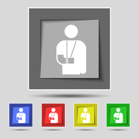 broken arm: broken arm, disability icon sign on original five colored buttons. Vector illustration