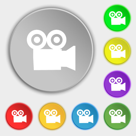 journalistic: video camera icon sign. Symbol on five flat buttons. Vector illustration Illustration