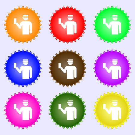 inspector: Inspector icon sign. A set of nine different colored labels. Vector illustration
