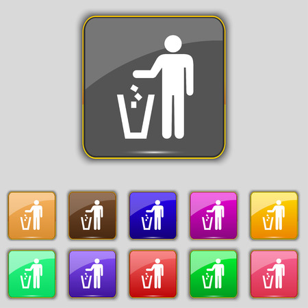 throw away: throw away the trash icon sign. Set with eleven colored buttons for your site. Vector illustration