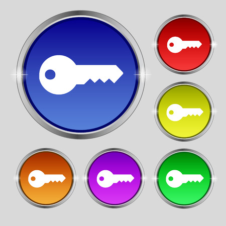 latchkey: key icon sign. Round symbol on bright colourful buttons. Vector illustration