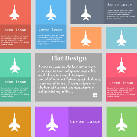 airbus: fighter icon sign. Set of multicolored buttons with space for text. Vector illustration Illustration