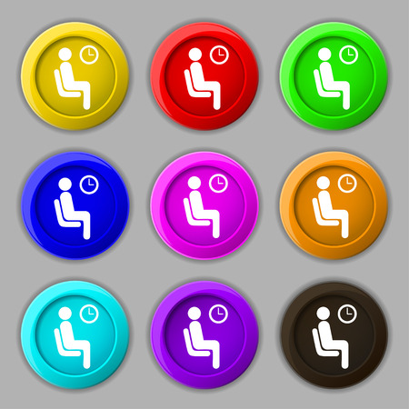 metering: waiting icon sign. symbol on nine round colourful buttons. Vector illustration Illustration