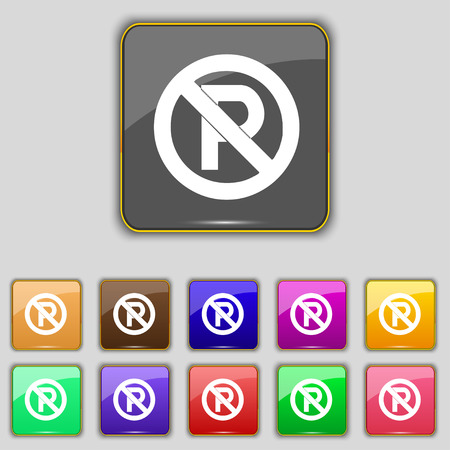 warden: No parking icon sign. Set with eleven colored buttons for your site. Vector illustration
