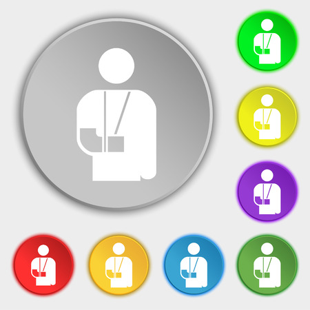 broken arm: broken arm, disability icon sign. Symbol on five flat buttons. Vector illustration