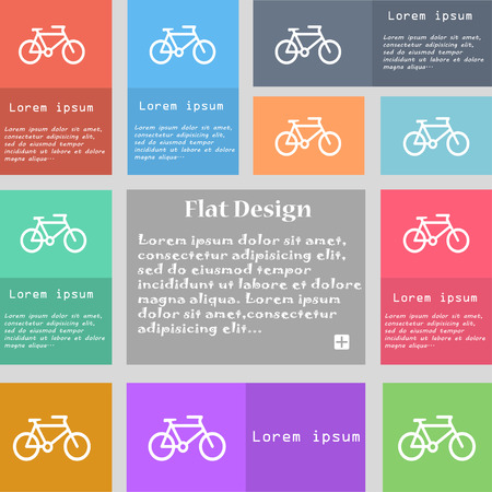 short break: bike icon sign. Set of multicolored buttons with space for text. Vector illustration Illustration