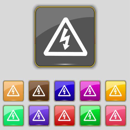 Spannung-Symbol-Zeichen. Set Mit Elf Farbigen Tasten Für Ihre ...