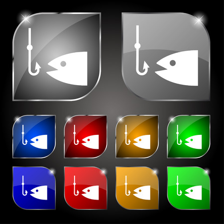 floater: Fishing icon sign. Set of ten colorful buttons with glare. Vector illustration