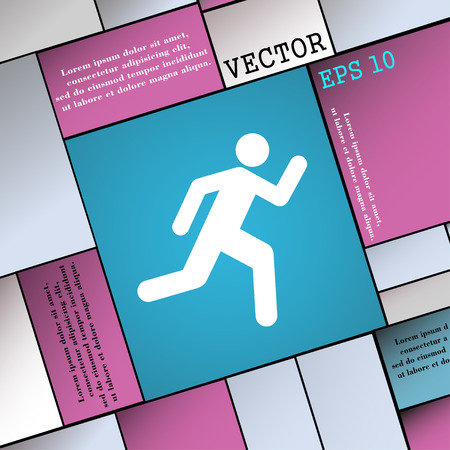 runner up: running man icon sign. Modern flat style for your design. Vector illustration
