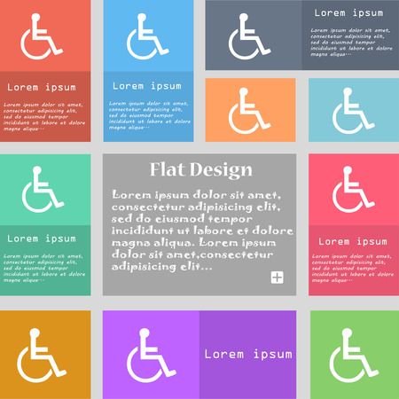 blind dog: disabled icon sign. Set of multicolored buttons with space for text. Vector illustration