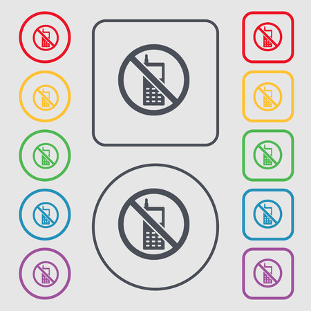 refrain: mobile phone is prohibited icon sign. symbol on the Round and square buttons with frame. Vector illustration