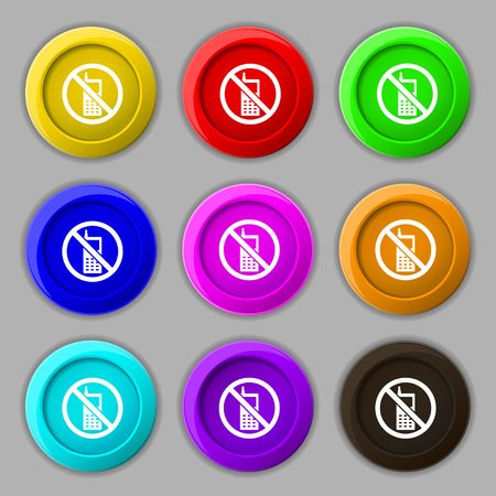 mobile phone is prohibited icon sign. symbol on nine round colourful buttons. Vector illustration