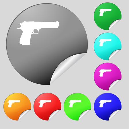 army gas mask: arma icono de signo. Conjunto de ocho multicolor botones redondos, pegatinas. Ilustraci�n vectorial Vectores