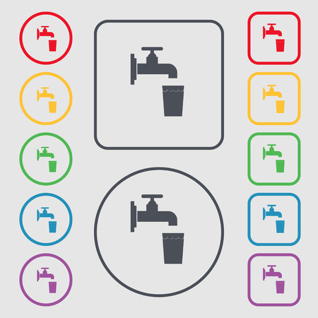 faucet, glass, water icon sign. symbol on the Round and square buttons with frame. Vector illustration