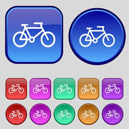 short break: bike icon sign. A set of twelve vintage buttons for your design. Vector illustration