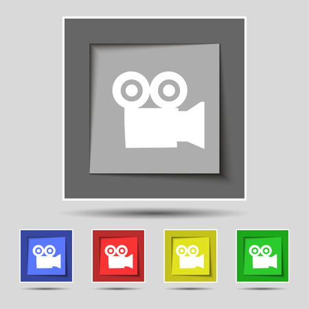 journalistic: video camera icon sign on original five colored buttons. Vector illustration