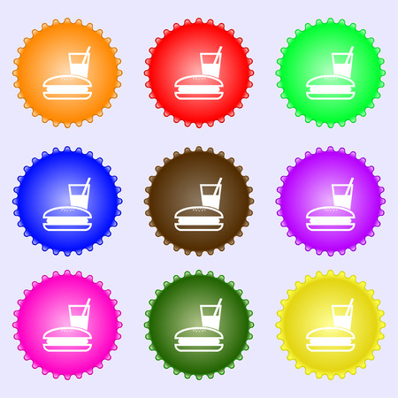 lunch box: lunch box icon sign. A set of nine different colored labels. Vector illustration Illustration