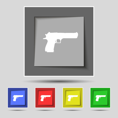 gas mask danger sign: gun icon sign on original five colored buttons. Vector illustration