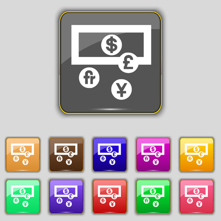 australian money: currencies of the world icon sign. Set with eleven colored buttons for your site. Vector illustration Illustration