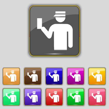 inspector: Inspector icon sign. Set with eleven colored buttons for your site. Vector illustration